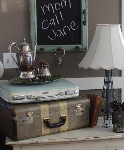 Old Cupboard Door Turned Chalkboard