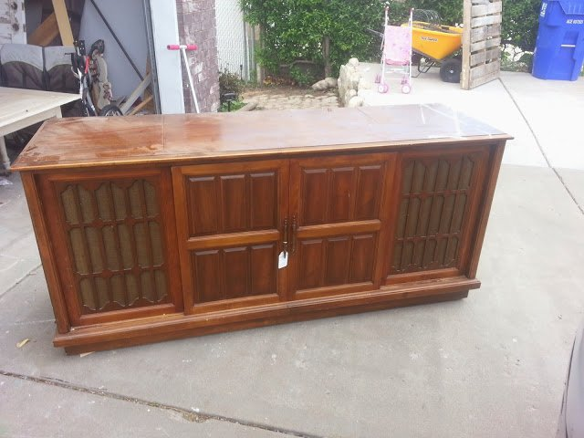 Old TV Console Turned Buffet!