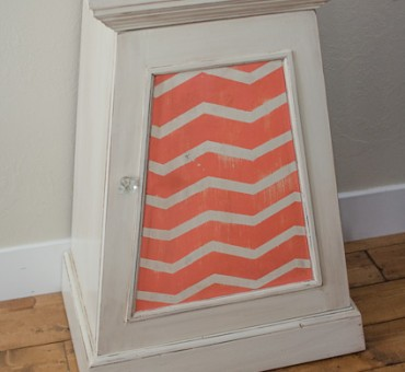 Coral and Chevron Refinished Nightstand