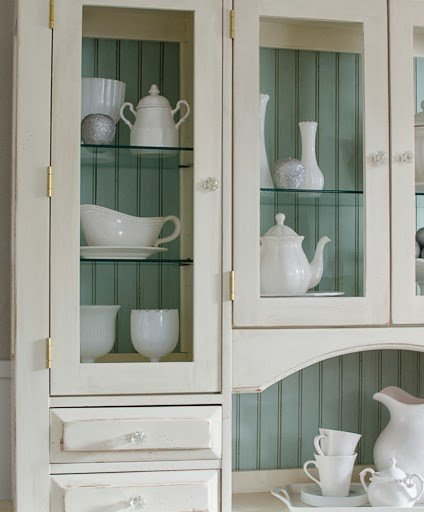 Beautiful Hutch Refinished Hutch with Blue Backdrop!!