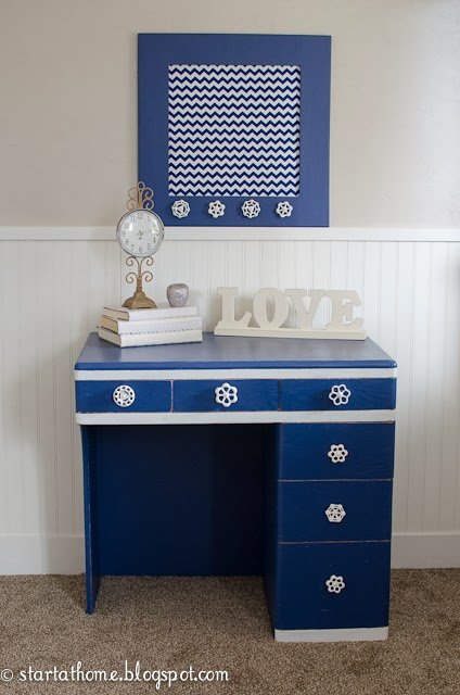 Navy blue desk furniture flip