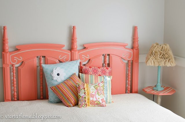 Coral Queen Headboard and MORE pillows!