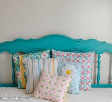 Turquoise Queen/Full Headboard & Pillows