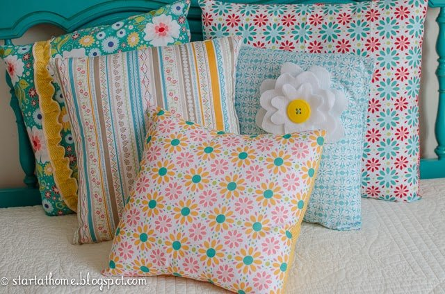 Turquoise Queen/Full Headboard & Pillows Start at Home Decor