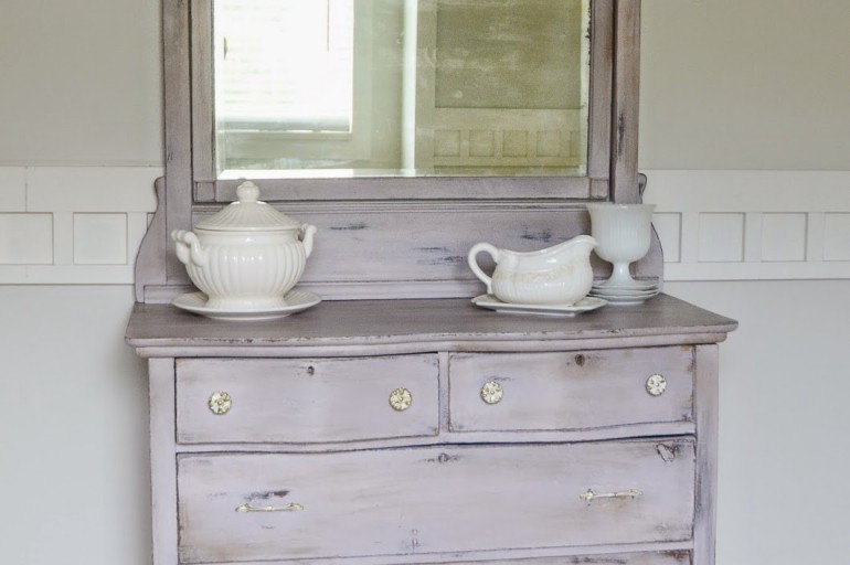 Beautifully Refinished Purple Chest with Silver Backed Mirror