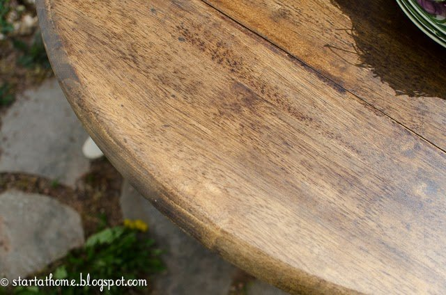 Pedestal table stained