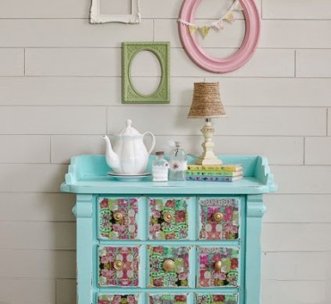 Refinished Floral Nightstand