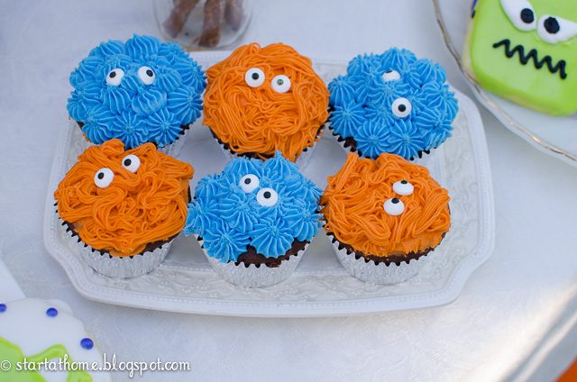 Monster party cupcakes
