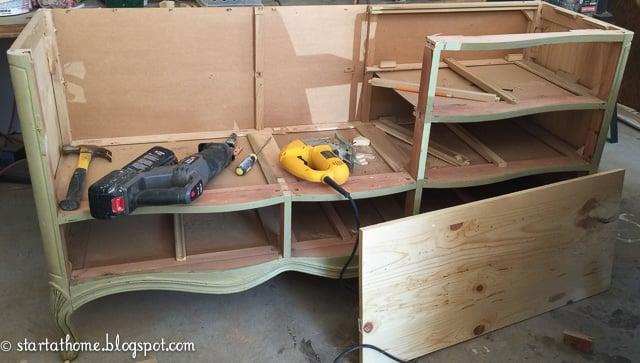 DIY French dresser turned bench