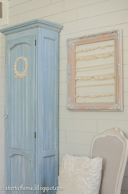 Repurposed Furniture. Blue curio cabinet converted to a beautiful storage cabinet, painted with chalk paint