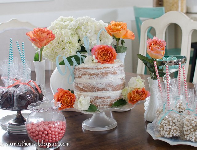 coral and teal baby shower start at home decor