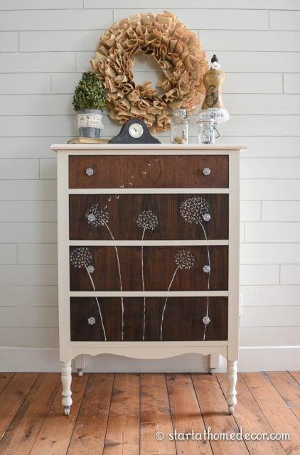 Hand Painted Dandelion Dresser
