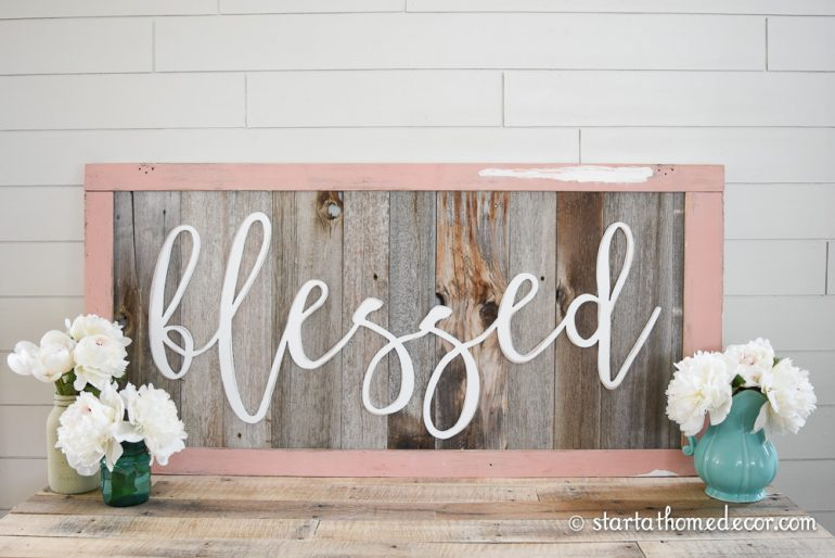 start at home decors reclaimed wood signs with wood word cutouts - Wood Sign Design Ideas