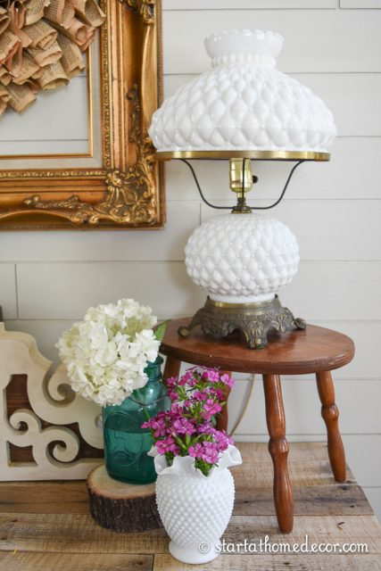 Milk Glass Vase and Lamp