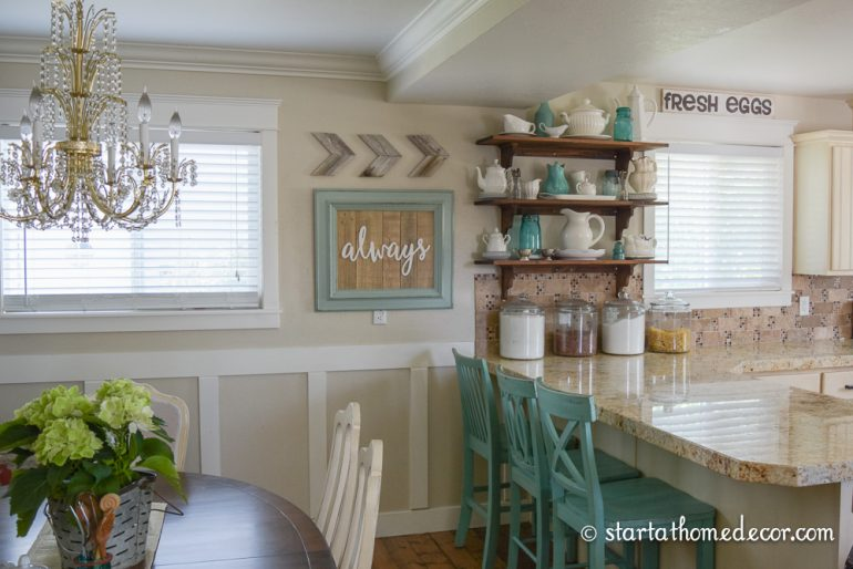 Start at Home Decor's Reclaimed Wood Signs.  Turquoise Reclaimed Wood always sign with Cedar Chevron Arrows