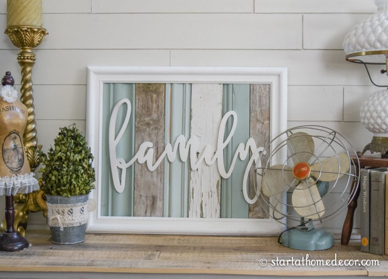 Start at Home Decor's Reclaimed Wood Signs with our Family word cutout