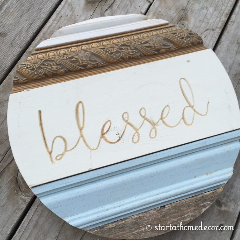 Start at Home Decor's New Line of Reclaimed Wood rounds with engraved blessed
