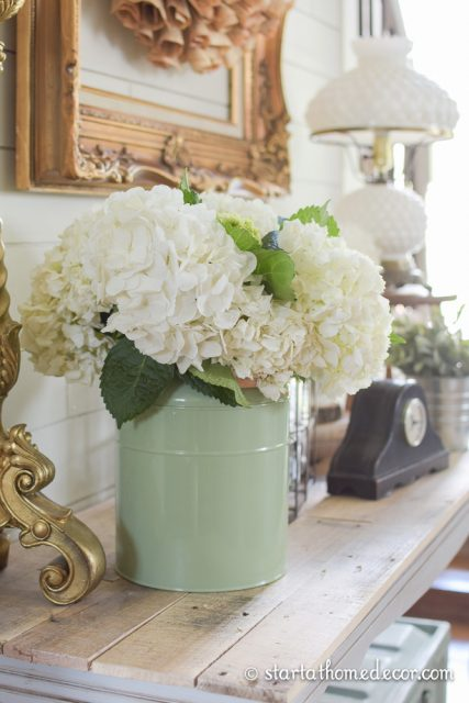 Bucket full of Hydrangea by Start at Home Decor