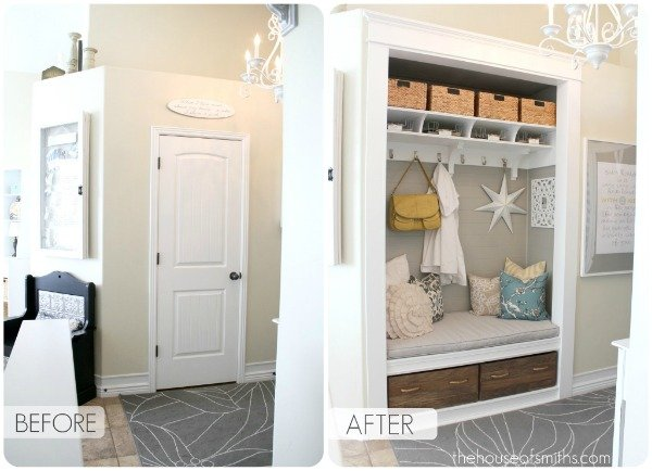 Entryway Closet Makeover - Mudroom - thehouseofsmiths.com