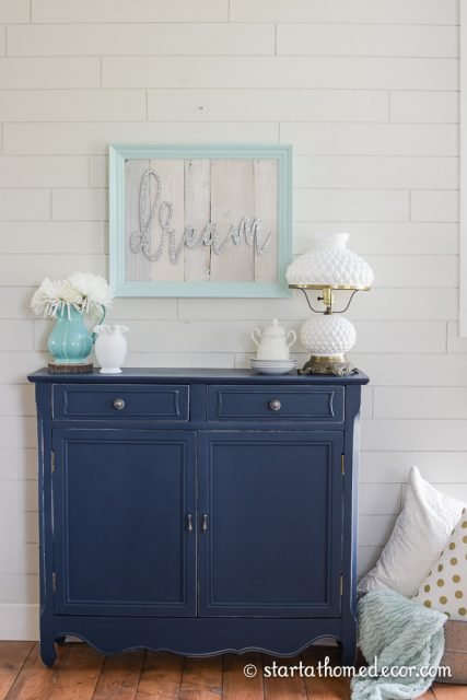 Custom painted navy sofa table