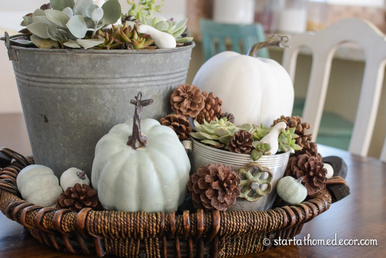 Fall decorations with succulents and pumpkins