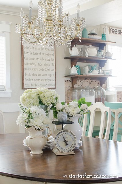 tablescape with open shelves
