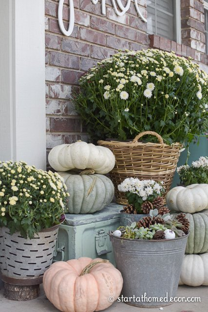 adding greenery to your fall front porch