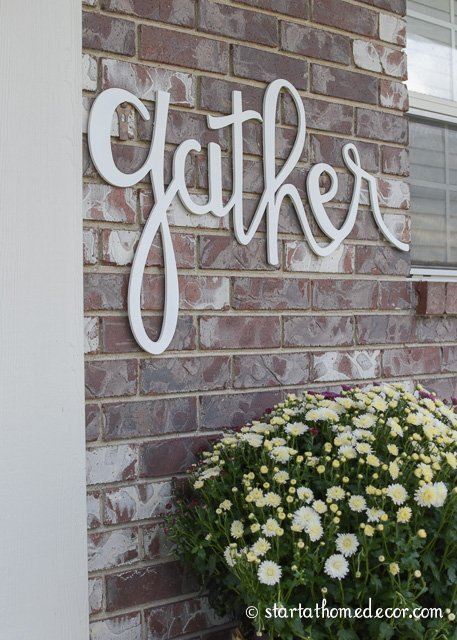 Fall front porch and gather sign