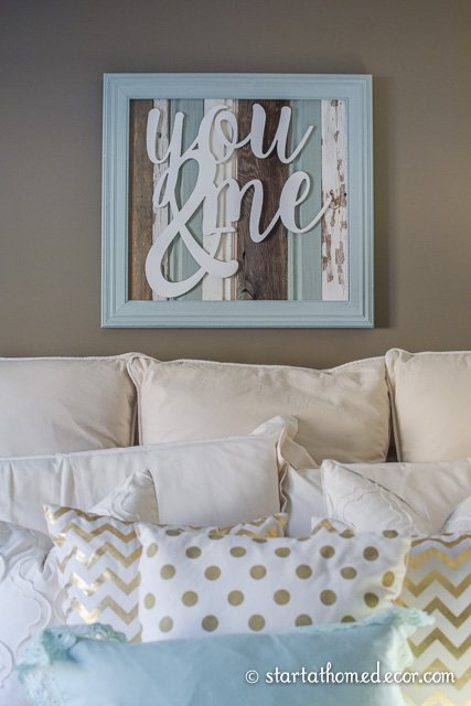 Reclaimed wood you and me sign. Perfect for a master bedroom