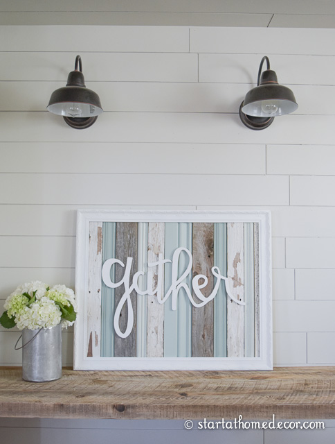 Reclaimed Wood Gather Typography Sign.