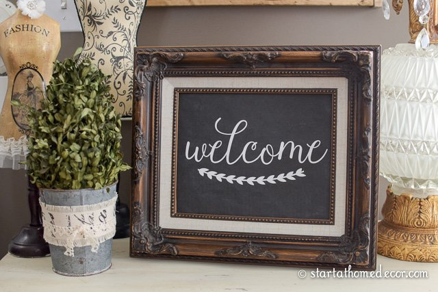 DIY Chalkboard Welcome with Free Printable