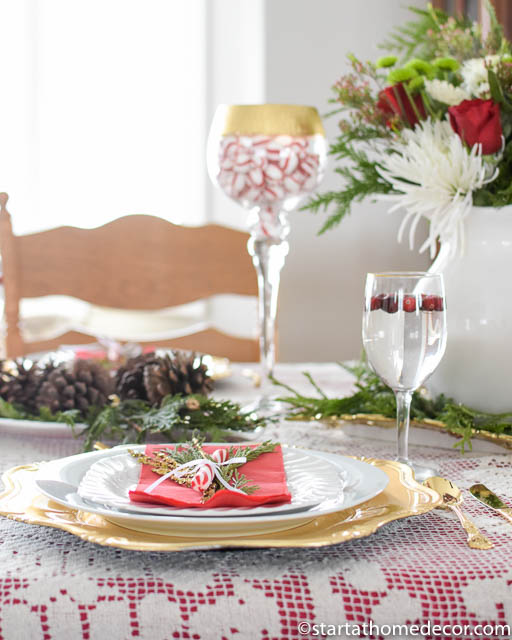 Christmas tablescape with gold accents