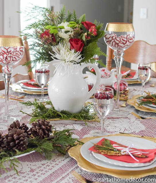 Christmas tablescape on a budget with fresh flowers