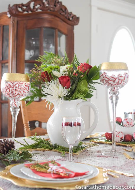 Christmas tablescape on a budget