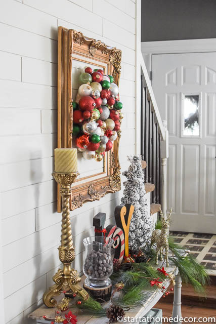 Budget friendly Christmas Hack: Plastic Ornaments Wreath
