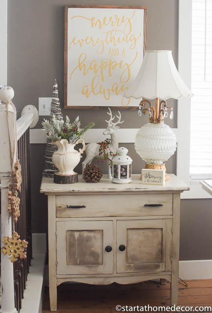 Christmas Home Tour by Start at Home Decor. Gold and White Christmas Decorations