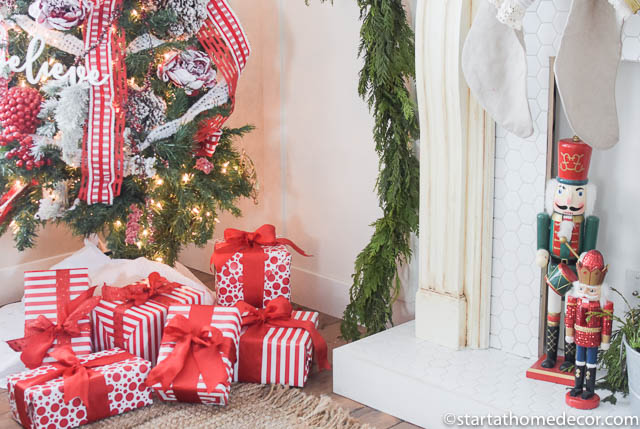 Christmas Home Tour by Start at Home Decor. Red and White Christmas Presents