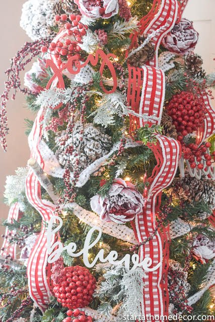 Christmas Home Tour by Start at Home Decor. Red and White Christmas Tree Decorations