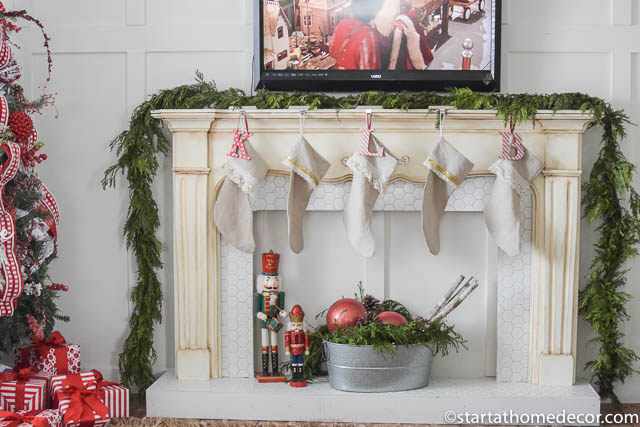 Christmas Home Tour by Start at Home Decor. Mantle and stockings