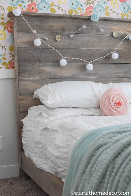 Girls room reveal headboard