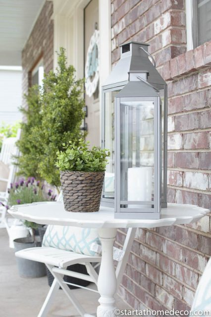 Adding Curb Appeal to Our Spring Front Porch | patio furniture | Farmhouse | Lanterns