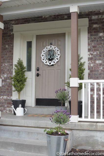 Adding Curb Appeal to Our Spring Front Porch | hello door wreath | Lavender Topiary | Farmhouse | Galvanized Bucket