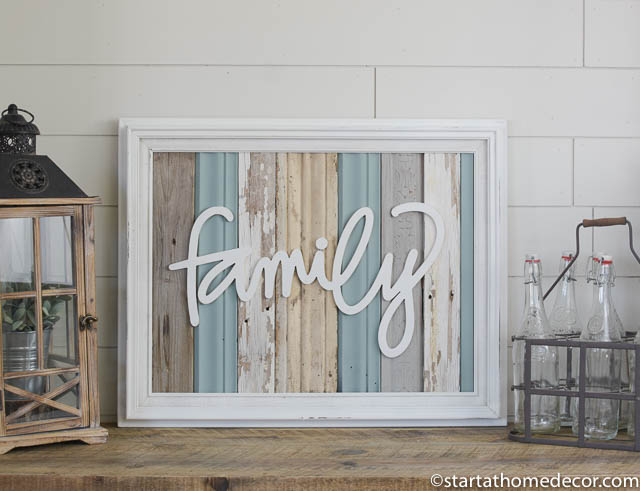 Reclaimed wood blue family sign by start at home decor | farmhouse decor |