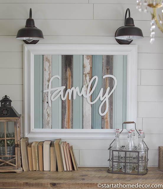 Reclaimed wood turquoise family sign by start at home decor | farmhouse decor | chippy | Barn Wood