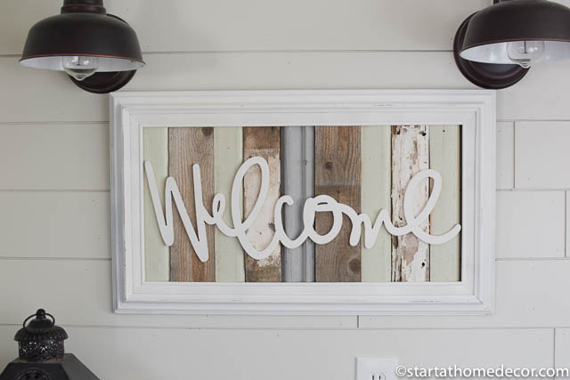Reclaimed wood green welcome sign by start at home decor | farmhouse decor |
