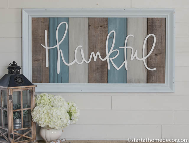 Large reclaimed wood thankful sign