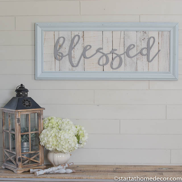 Large reclaimed wood blessed sign