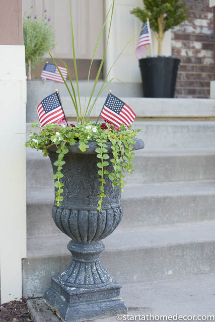 4th of July front porch | 4th of July flower pot