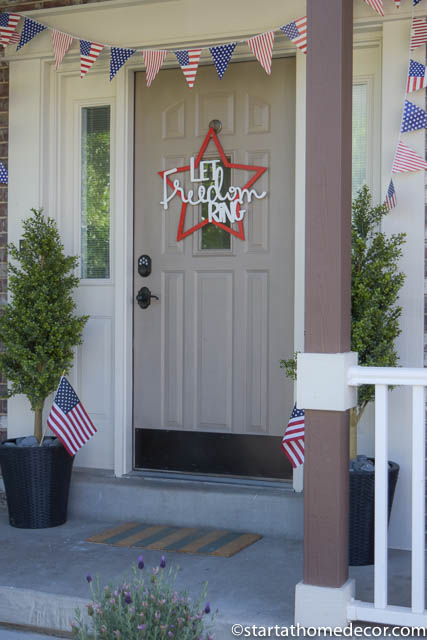4th of July front porch | Let Freedom Ring door hanger