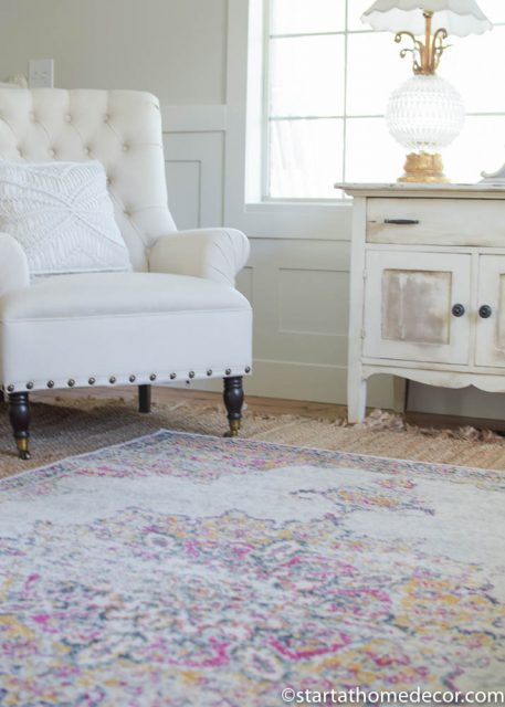 Update on our Living Room | Using a colorful rug is a great way to bring in color to any room